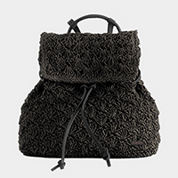 Crochet straw backpack bag with faux leather strap