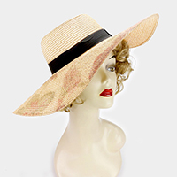 Flower print paper straw floppy sun hat
