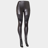 Crystal studded mesh block satin leggings