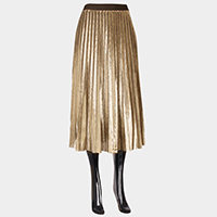 Metallic wrinkle midi skirt