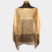 Striped metallic side fringe boat neck top