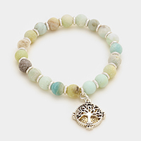 Tree of life charm semi precious bead stand stretch bracelet