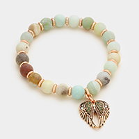 Angel wings charm semi precious bead stand stretch bracelet