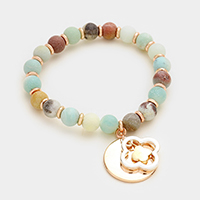 Double clover & disc charm semi precious bead stand stretch bracelet