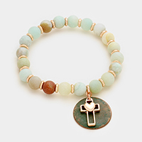 Heart cross & disc charm semi precious bead stand stretch bracelet
