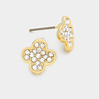Pave clover stud earrings
