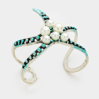 Pearl embellished starfish cuff bracelet