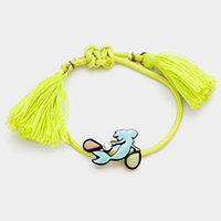 Mermaid & double tassel cinch bracelet