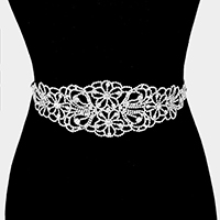 Wide rhinestone flower sash ribbon bridal wedding belt