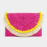 Semi circle pom pom & tassel hem straw clutch bag with strap
