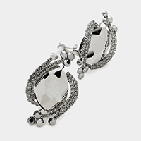 Oval crystal rhinestone clip on earrings