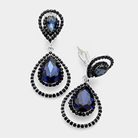 Pave trim glass crystal teardrop clip on earrings