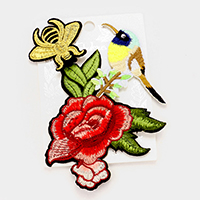 Embroidered bird, honey bee & flower patch set