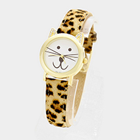 Cat dial faux leather strap watch