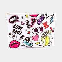Big eyes patch print _ Faux saffiano zip clutch bag with strap