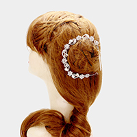 Swirl rhinestone flower bun wrap headpiece