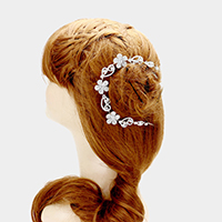 Rhinestone flower bun wrap headpiece