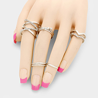 9 PCS - Crystal metal orbit multi-ring