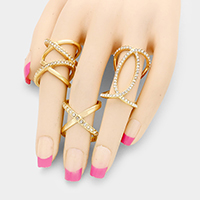 3 PCS - Crystal metal orbit multi-ring