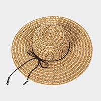 Open basket weave floppy sun hat with braided cord