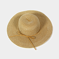 Striped floppy sun hat with faux suede ribbon