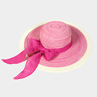 Striped straw floppy sun hat with bow ribbon