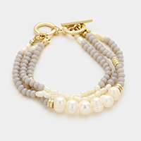 Triple tier glass bead & freshwater pearl strand toggle bracelet