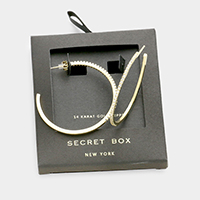 Secret box _ 14K gold dipped CZ hoop earrings