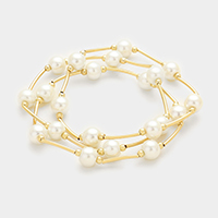 3 PCS - Pearl station stack stretch bracelets