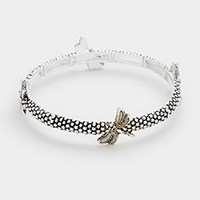 Mother of pearl dragonfly stretch bracelet