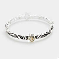 Mother of pearl owl stretch bracelet