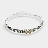 Mother of pearl butterfly stretch bracelet