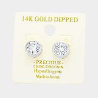 14K Gold Dipped 8mm Cubic Zirconia Round Stud Earrings