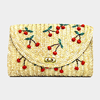 Straw cherry clutch bag with chain strap