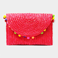 Semi circle pom pom straw clutch bag with chain strap