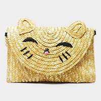 Straw cat clutch bag with chain strap