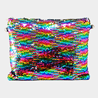 Sequin wristlet zip clutch bag