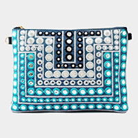 Embroidery trim clutch bag with strap