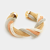 Twisted metal mesh tube cuff bracelet