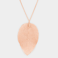 Metal Textured Leaf Pendant Long Necklace