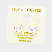 14K Gold Dipped 8mm Cubic Zirconia Square Stud Earrings