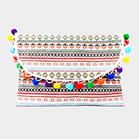 Semi circle pom pom wristlet clutch bag with straps