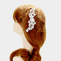Pave flower hair comb