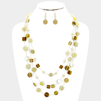Triple layer celluloid bead station necklace