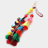 Pom pom & yarn tassel cluster keychain with embroidered strap