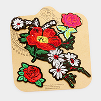 Embroidered flower patch set