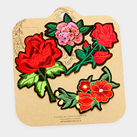 Embroidered sequin flower patch set