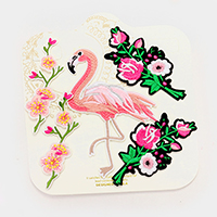 Embroidered flamingo & flower patch set