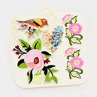 Embroidered sequin bird & flower patch set