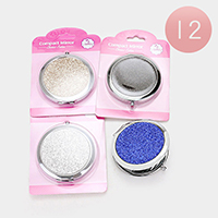 12 PCS - Sparkling Glitter Compact Mirror